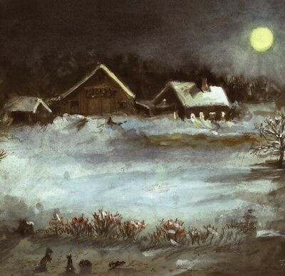 Mint..! Tasha Tudor Farm In Snow & Moon Light,rabbits,blank,greeting Card