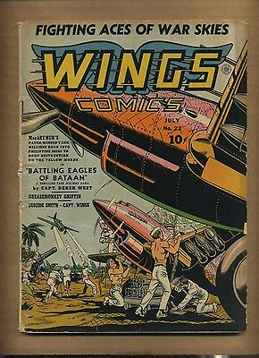 Wings Comics 23 (Q) 1942 Fiction House Greasemonkey Griffin WWII cover (c#08676)