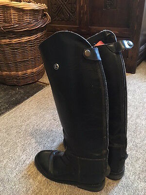 Rhinegold Olympic long black leather riding boots, size 38M/ 5 medium