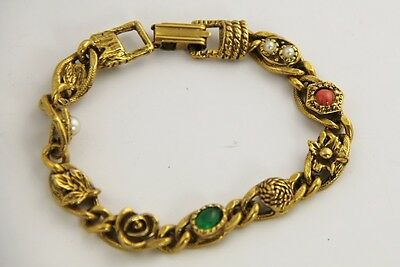 VINTAGE Jewelry GOLDETTE SIGNED BRACELET - 7.25""