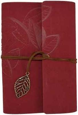 "5""x7.25"" Soft Red Leather Suede ""Leaf"" Book of Shadows, Journal, Diary!"