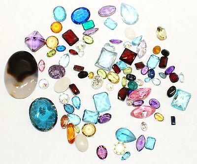 200+ Carat Mixed Lot Loose Faceted Gemstones Natural And Synthetic Gems