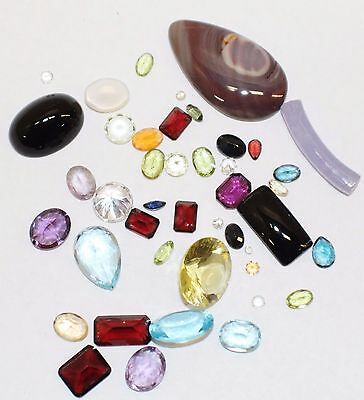 100+ Carat Mixed Lot Loose Faceted Gemstones Natural And Synthetic