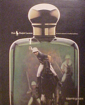 1990 Ralph Lauren~Bloomingdales Polo Pony~Vintage Cologne Bottle 9 3/4 x 12 Ad