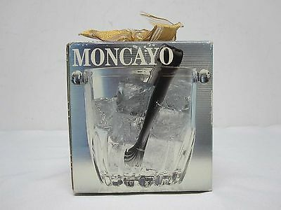 Vintage Moncayo Made In Italy Mini Glass Ice Bucket W/ Tongs Mint In Box Sealed