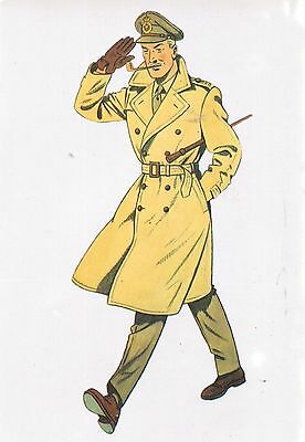 postcard french captain army Francis Percy Blake cartoon soldier ww2 salute cap