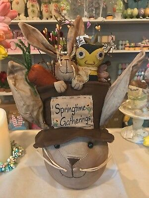 Large Rabbit Head w Top Hat Bee Bunny Country Spring Decoration hdea 5d4503 NEW