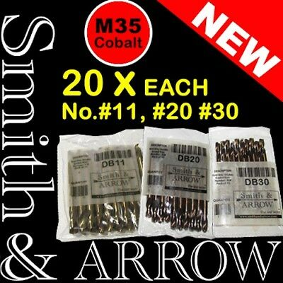 """60 x 5/32"""", 3/16, 1/8 No.#11 20 30 DOUBLE ENDED DRILL BITS M35 HSS METAL 3,4,5mm"""