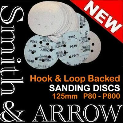 "125mm HOOK AND LOOP DISCS 5"" SANDING PADS ORBITAL SANDER SANDPAPER 8 HOLE VELCRO"