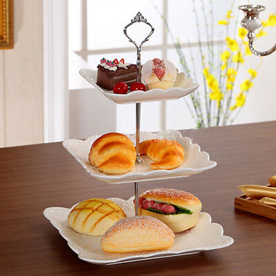 Stainless 3Tier Steel Round Cupcake Stand Wedding Birthday Cake Display Tower