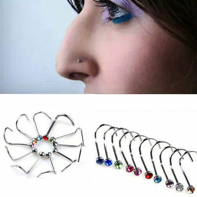 10Pcs Rhinestone Surgical Steel Screw Nose Hoop Ring Studs Body Piercing Jewelry