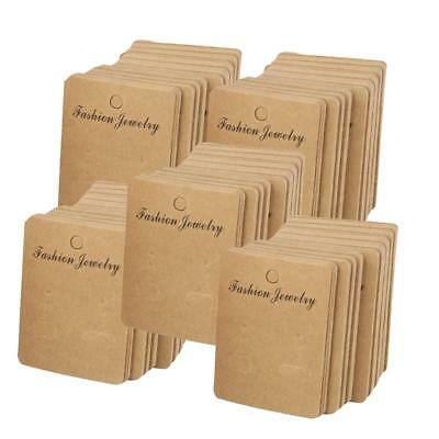 5x 100pcs Kraft Paper Stud Ear Ring Jewelry Display Packaging Hanging Cards