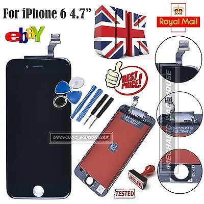 """Black LCD Display Touch Screen Digitizer Lens Full Assembly for iPhone 6 4.7"""" UK"""