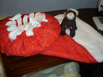 Ex Large HANGING BED  + LARGE  HAMMOCK (FERRETS ect.)--Red dotty/Cream Fur