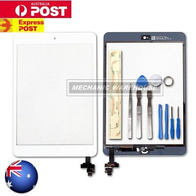 For Apple iPad Mini 1&2 GLASS TOUCH SCREEN DIGITIZER IC Chip Home Button White