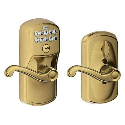 NEW Schlage Plymouth Antique Brass Flair Keypad Lever (FE595 PLY 609 FLA)