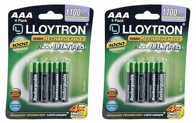 8 x Lloytron AAA Rechargeable Batteries High Capacity 1100mAh NiMH - Cameras etc