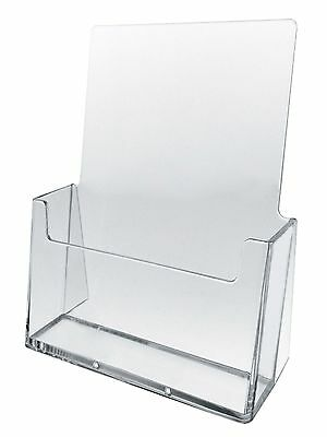 2 Pack Deal: Single Pocket Acrylic Bi-Fold Brochure Literature Holder - Clear