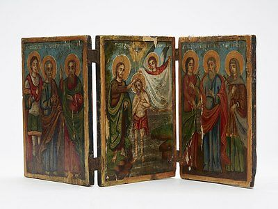 Antique Hand Painted Religious Double Triptych Icon 18/19 C