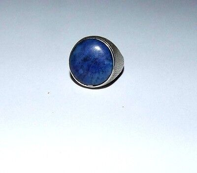 Mens / Gents Silver Vintage Ring With Large Lapis Lazuli.size Uk 'q 1/2'.