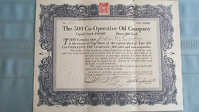 1917 500 Co-Operative Oil Company Stock-Signed-Uncancelled-Revenu Stamp
