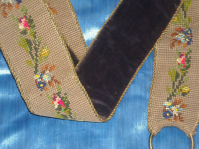 06 VTG Victorian Petit point Bell Pull Floral Tapestry & Brass