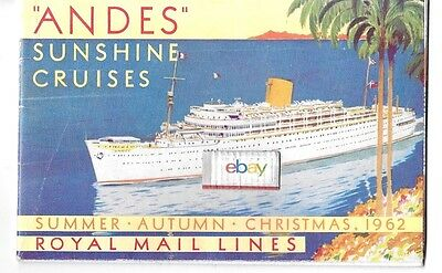 "Royal Mail Lines ""andes"" 1962 Cruises & Deck Plans & Prices Sunshine Cruises"