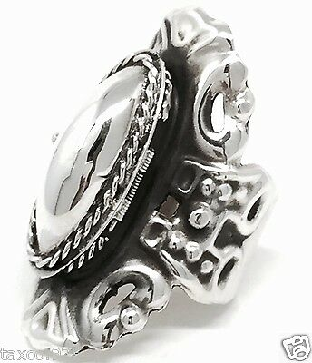 Taxco Mexican 925 Sterling Silver Vintage Style Adjustable Poison Ring Mexico