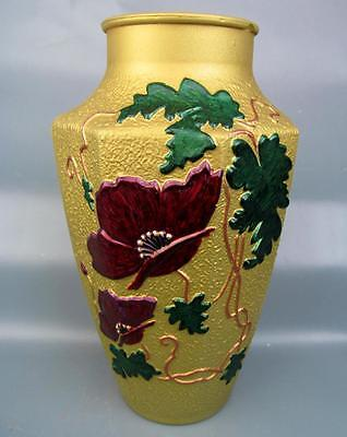 GOOFUS DONE RIGHT Repainted POPPY Six-Sided EAPG Vase