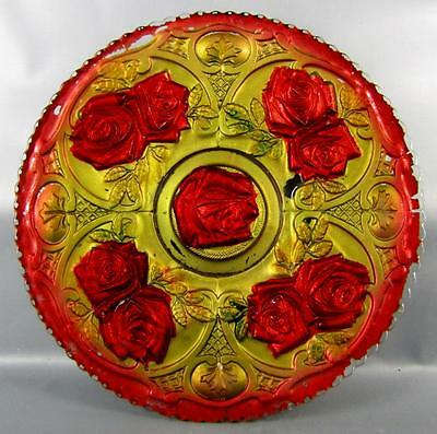 "GOOFUS GLASS 10¾"" EAPG PLATE - ROSES in the SNOW ( McKinley)  #2 ORIGINAL PAINT"