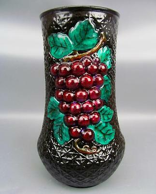 "GOOFUS DONE RIGHT Repainted Grape Motif 7½"" EAPG Vase"