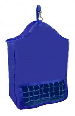 New hay bag slow feed tote with poly net horse tack equine pony cow goats BLUE
