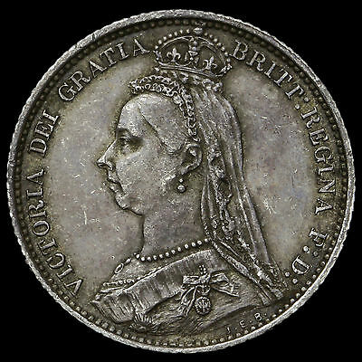 1887 Queen Victoria Jubilee Head Silver Wreath Sixpence – G/EF