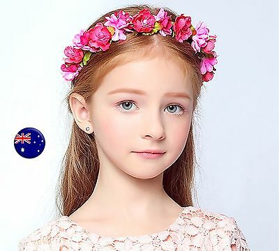 Lady flower Girl Fairy wedding Hot Pink bride Party Hair Headband Crown Garland