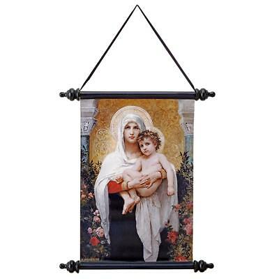 Madonna Of The Roses Canvas Scroll Design Toscano Wall Decor  Wall Art  Wall Art