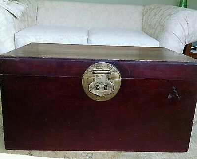 "Antique Asian Chinese 33""W Red Lacquer Trunk Chest"