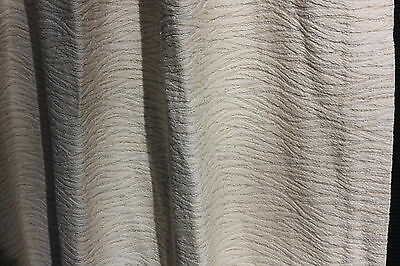 Vintage 1950's/ 60's Curtains Drapes Fabric - Ivory w/Gold Thread Wave Pattern b