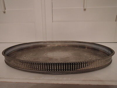 """Vintage English Silverplate Oval Reticulated Gallery 16"""" Tray Silver Plate"""