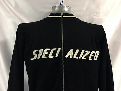 Specialized Bicycles Retro Style Full Zip Wool Knit Sweater Large Black Cycling