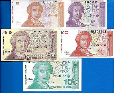 Croatia P-16 P-17,18,19,20 Uncirculated 5 Banknotes SET-1 Europe