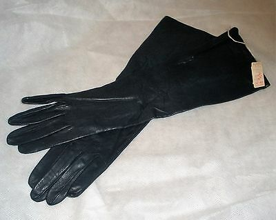 Vtg Made in Paris Silk-Lined Gloves Sz  6 Black Leather Dalton's Store Tag NWT
