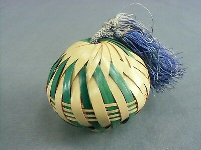 DR126 Japanese Bamboo Bell Hand Made Lucky Charm Chikurin Vtg Dorei Ornament
