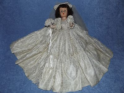 """Vintage 50s Brunette 19 1/2"""" Bride Jointed Doll Ivory Lace Gown Sleepy Blue Eyes"""