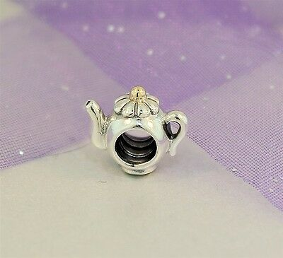 Authentic Pandora Sterling Silver & 14k Gold TEAPOT CHARM ~ Retired 790250