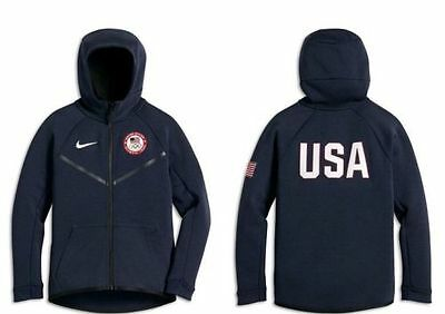 Nwt Nike Kid's Boy's Tech Fleece S M Olympic Usa Full Zip Hoodie 826816 473