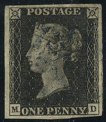 1840 Penny Black  - Plate 7 MD with BLUE Maltese Cross (BPA Certificate) . . .