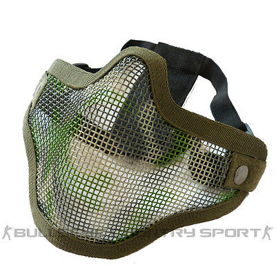 Airsoft Strike Style V1 Maille Masque Camouflage Forêt Sangles Doubles