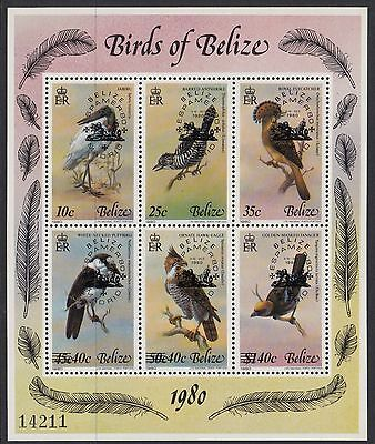 BELIZE :1980 Birds series 4 sheetlet opt ESPAMER 80 SG561-6 mint