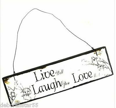 New Hanging Small Wooden Shabby Chic Message Wall Sign Inspirational Life Quotes