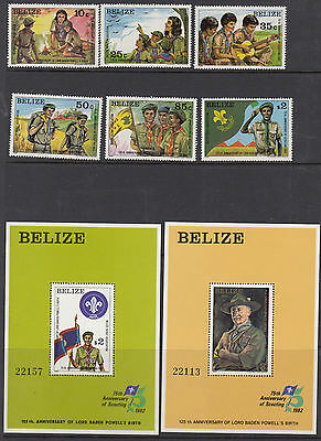 BELIZE :1982 Birthday of Baden Powell   set +MS SG687-92 +MS693 mint